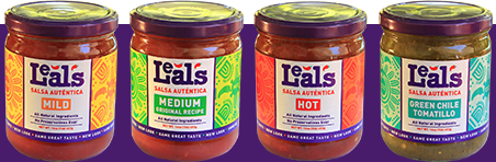 Four Leal's salsa jars